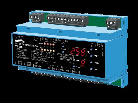 Przekaźnik temperaturowy Pt 100, 4 czujniki, 4 limity cyfrowe, 2 wyjścia analogowe